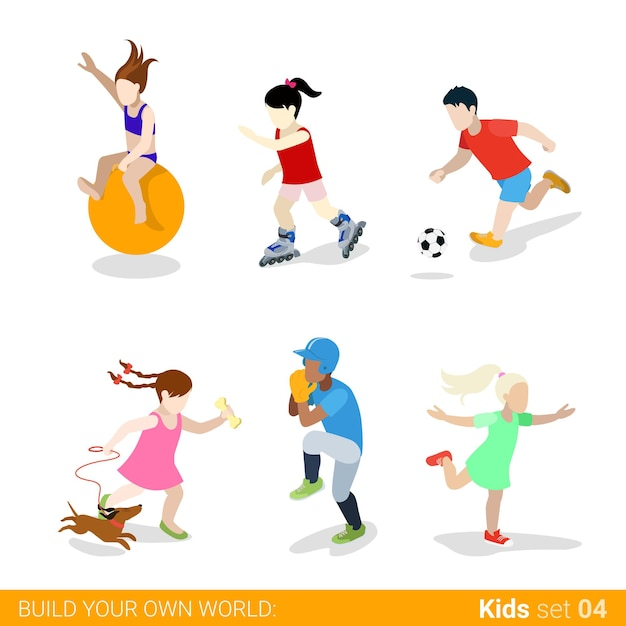 Active sports teenagers children  web infographic concept  icon set. Free Vector