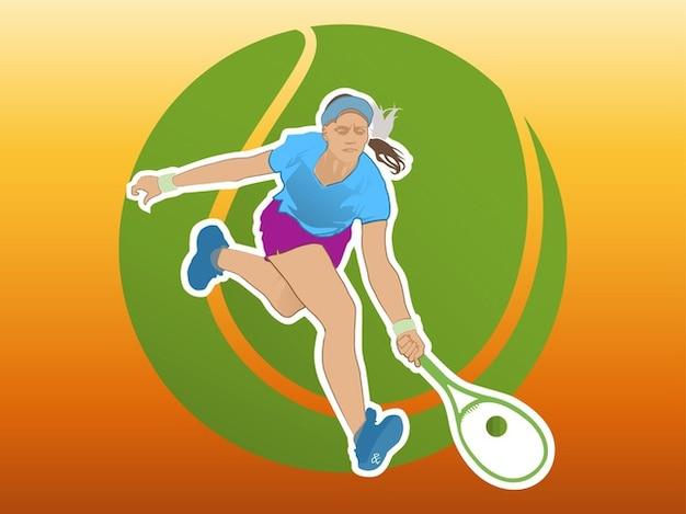 Active tennis girl play vector logo
