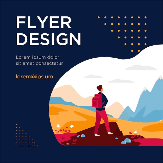 Active tourist hiking in mountain. man wearing backpack, enjoying trekking, looking at snowcapped peaks. flyer template Free Vector
