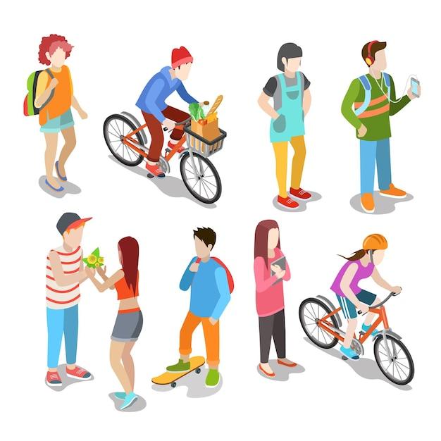 Активные городские молодые случайные уличные люди плоские изометрические Бесплатные векторы