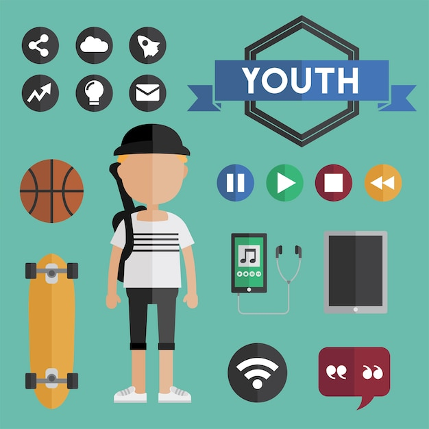 Active young child lifestyle Free Vector