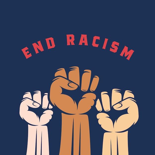 肌の色と人種差別のテキストが異なる活動家の拳。人種差別反対、ストライキまたはその他の抗議ラベル、エンブレムまたはカードテンプレートを抽象化します。青色の背景。 無料ベクター