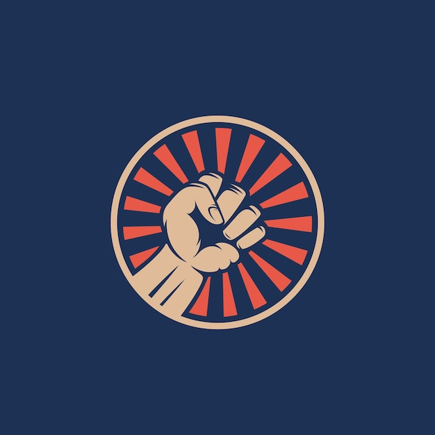 Activist rebellion fist symbol. abstract  riot emblem or logo template. hand with rays in a circle silhouette. Free Vector