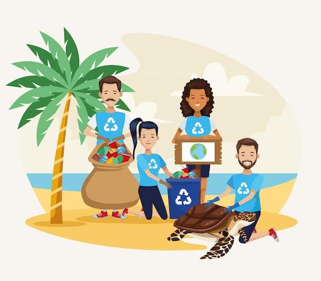 ウミガメのシーンでビーチを掃除する活動家の人々 Premiumベクター