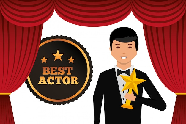 Actor wearing tuxedo holding gold star award Premium Vector
