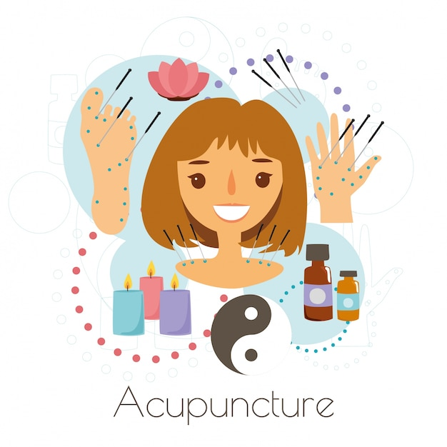 Acupuncture session girl Free Vector