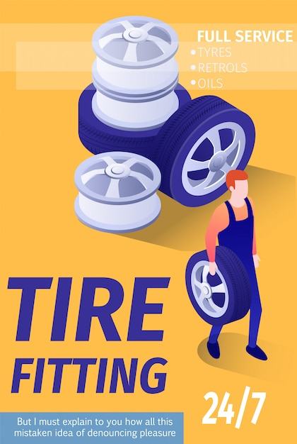 Ad banner template for tire fitting automobile shop garage Free Vector