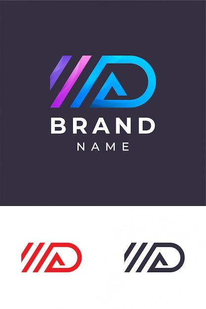 Ad monogram logo template Premium Vector
