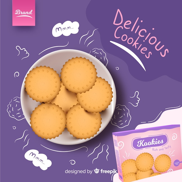 Ad template for cookies with doodles Free Vector