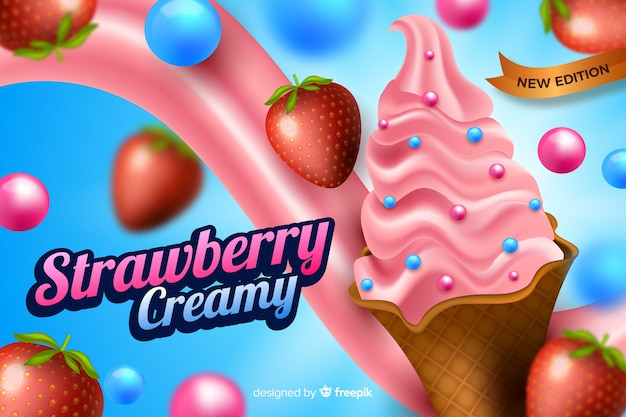 Ad template for ice cream Free Vector