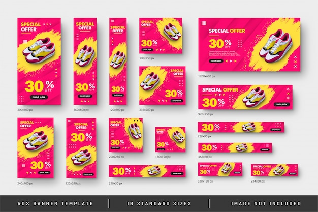 Ad web banner shoe sale with splash effect and all standard size template Premium Vector