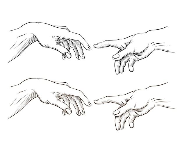 Mano di adamo e mano di dio come la creazione. speranza e aiuto, assistenza e sostegno alla religione, illustrazione vettoriale Vettore gratuito