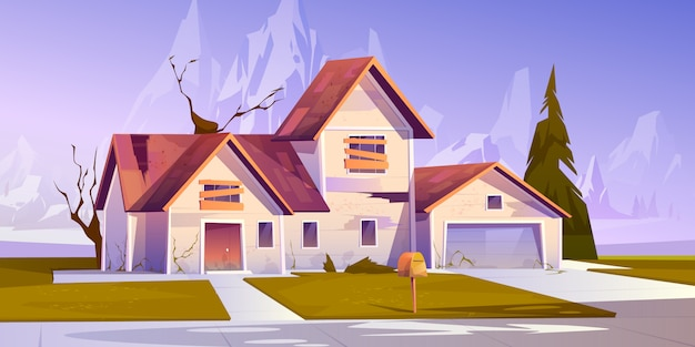 Adandoned old house with boarded up windows Free Vector