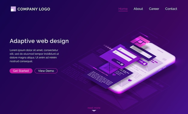 Adaptive interface design isometric landing page Free Vector