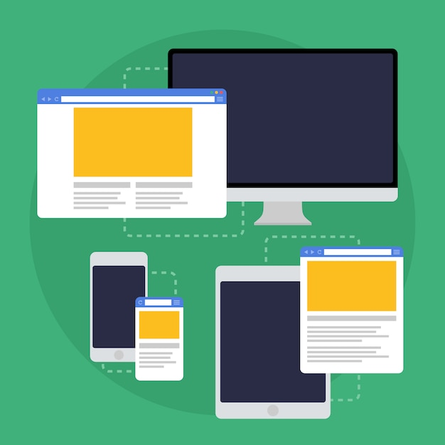 Adaptive Web Design On Different Devices Premium Vector