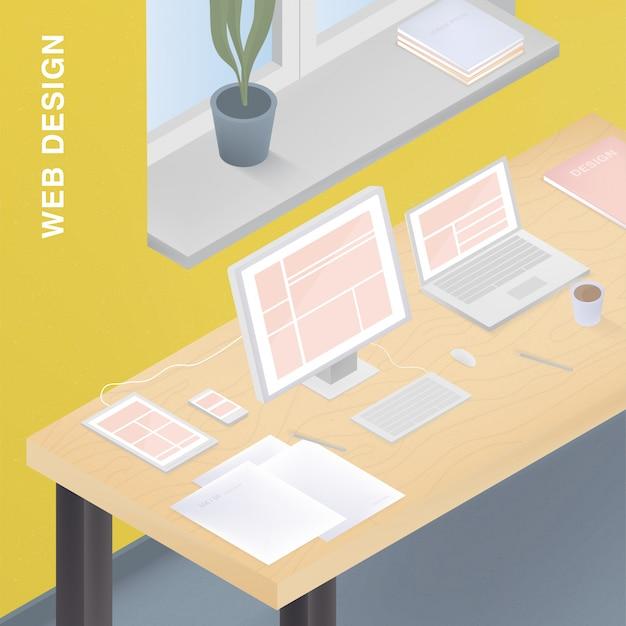 다양한 장치에 적합한 웹 디자인. 컴퓨터, 태블릿, 스마트 폰, 노트북에 반응 형 디자인으로 다채로운 그림. 프리미엄 벡터