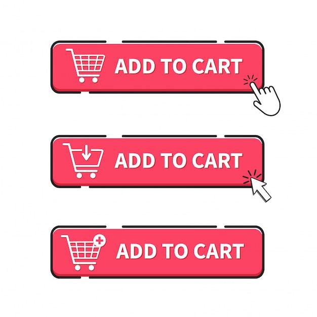 premium vector | add to cart button. click button.  freepik