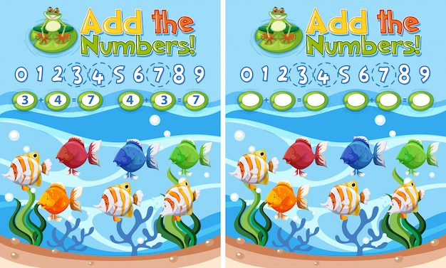 Add the number underwater theme Free Vector