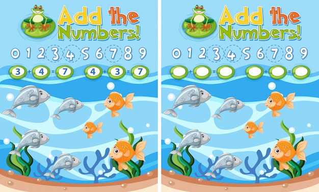 Add the number worksheet Free Vector