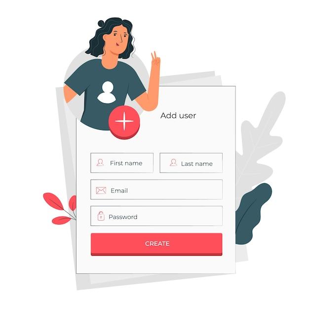 Add user concept illustration Free Vector
