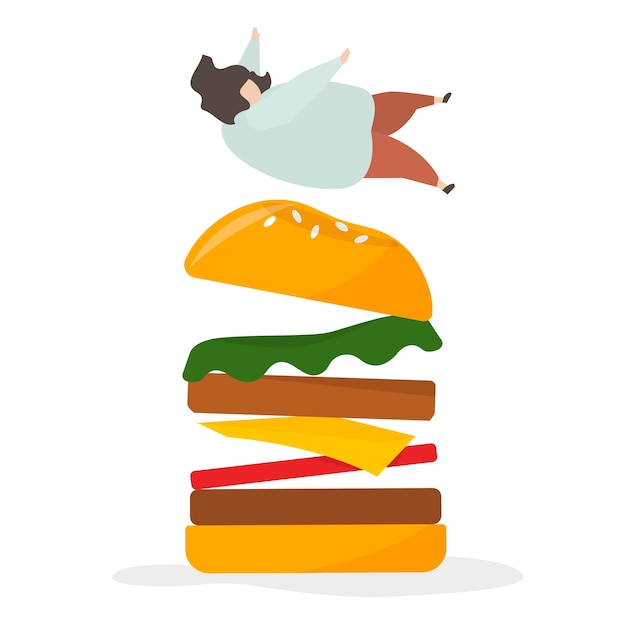 Addicted to junk food and snacks Free Vector