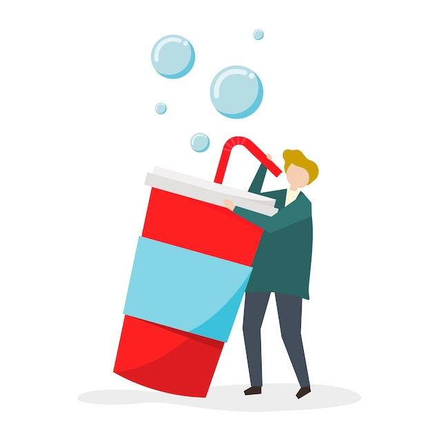 Addicted to sweet drinks and sugar Free Vector