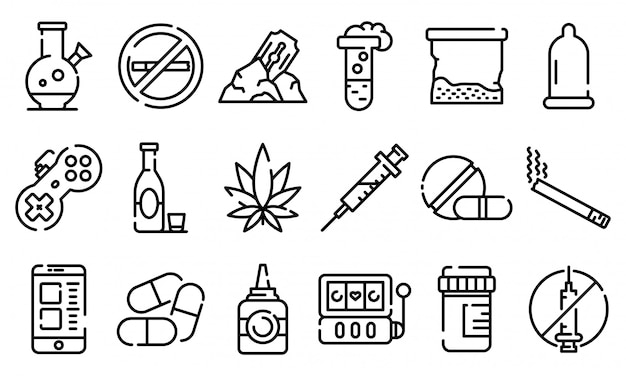 Addiction icons set, outline style Premium Vector
