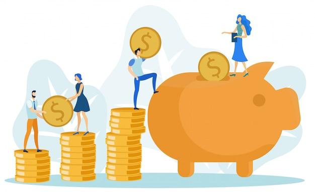 Adding coins to big piggy bank, saving money Premium Vector