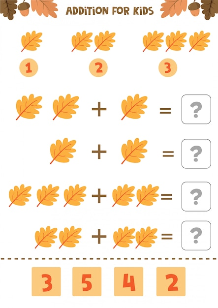 Addition for kids. mathematical game. counting game. autumn worksheet. Premium Vector