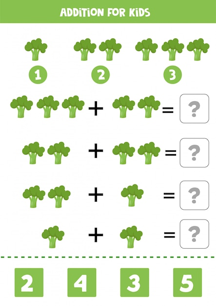 Addition for kids with cartoon green broccoli. educational math game. Premium Vector