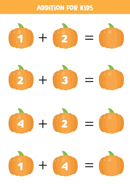 Addition for kids with cute cartoon pumpkins. math equations. Premium Vector