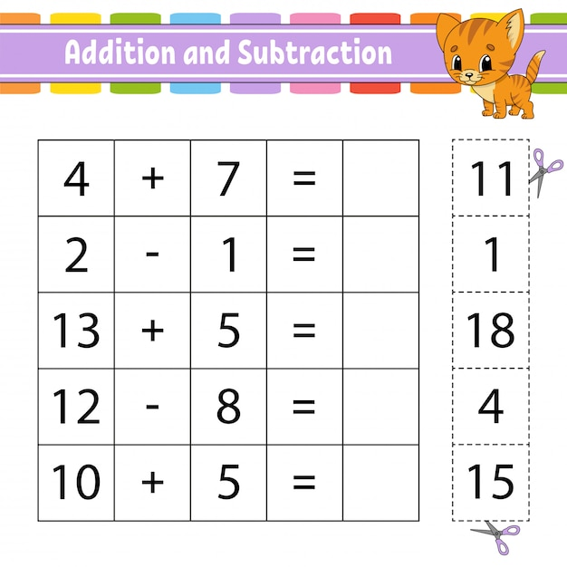 Addition and subtraction. Premium Vector
