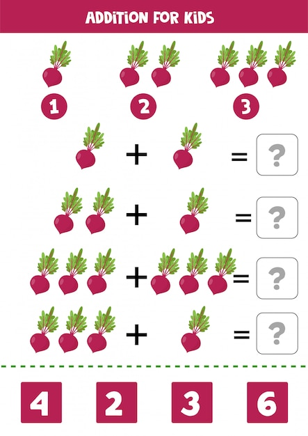 Addition with beetroot. solve the equation. math game for children. Premium Vector