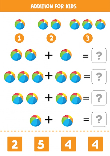 Addition with colorful toy balls. educational math game for kids. learning to solve equations. home education. Premium Vector