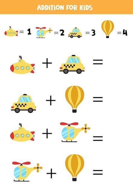 운송 수단이 다른 추가. 아이들을위한 교육 수학 게임. 프리미엄 벡터