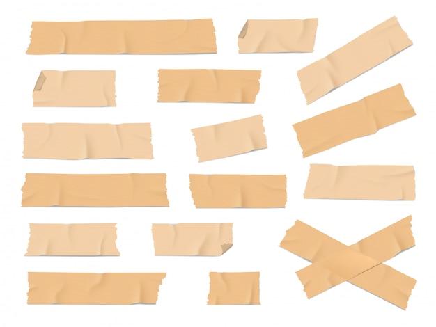 Adhesive, duct tape pieces realistic Premium Vector