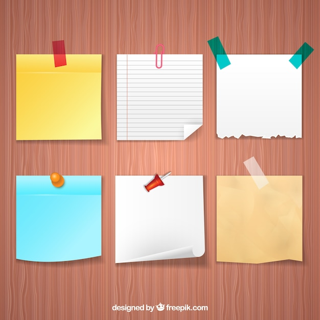 Adhesive notes in realistic style Premium Vector