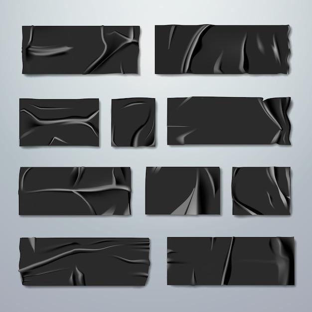 Набор клея или малярной ленты. черная резиновая изолента со складками с рваными краями, изолированные на фоне. фиксация или приклеивание. тема ремонта или упаковки. канцтовары. реалистичная иллюстрация Premium векторы