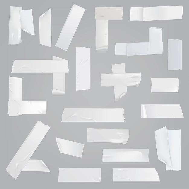 접착 테이프 다양 한 조각 현실적인 벡터 세트 무료 벡터