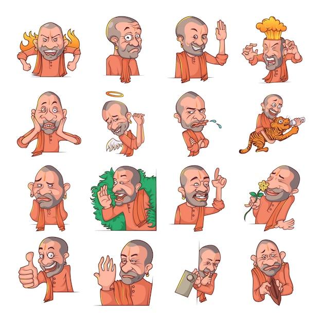 ヨギadityanathセットの漫画イラスト Premiumベクター
