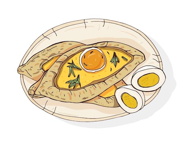 アジャランはハチャプリを開きます。伝統的なジョージア様式のボート型のパイ。チーズと生卵とバターをトッピング。白人料理の美味しい食事 Premiumベクター