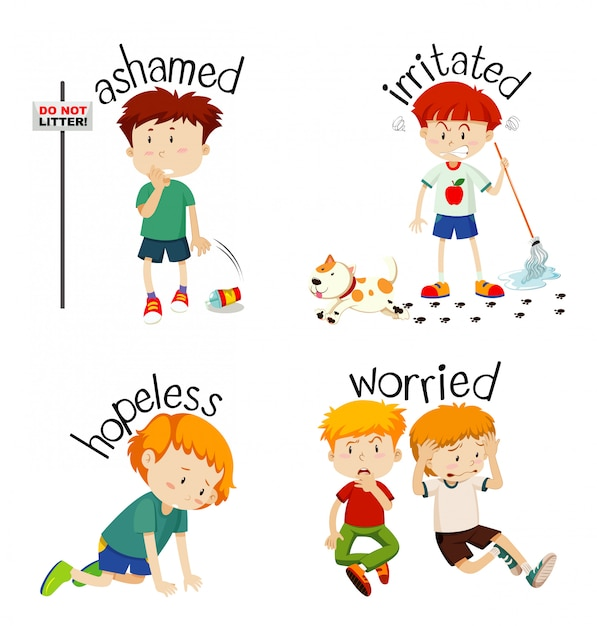Adjective words with kid expressing their feelings Free Vector
