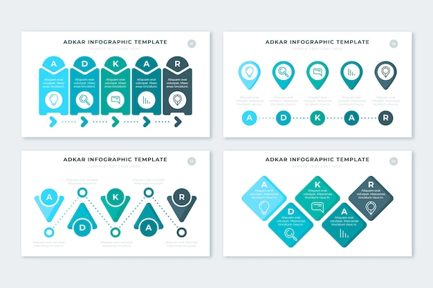 Adkar инфографики Бесплатные векторы
