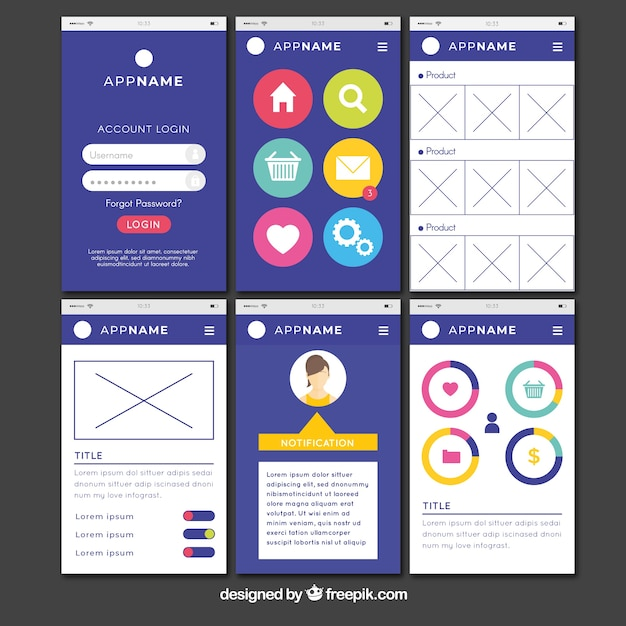 Admin app dashboard in flat style Vector | Free Download