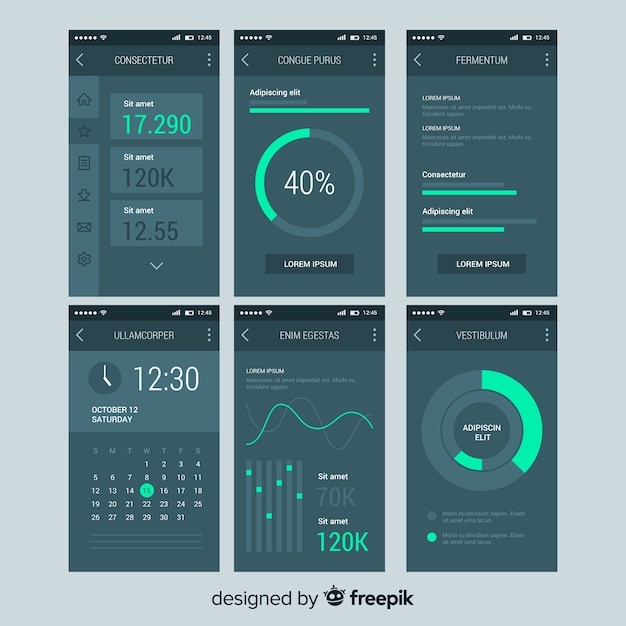 Admin dashboard panel mobile template Free Vector