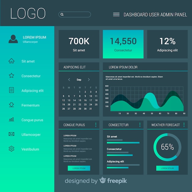 Admin Dashboard Panel Template Vector Free Download