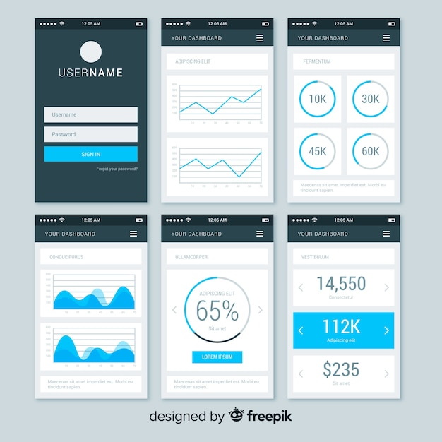 Admin dashboard panel template Free Vector
