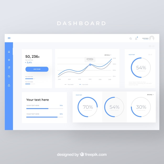 Admin Dashboard Panel With Flat Design Vector