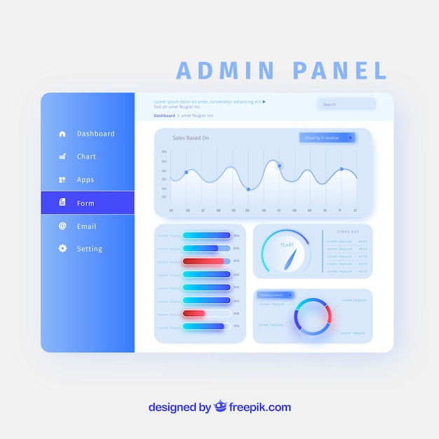 Admin dashboard panel with gradient style Free Vector