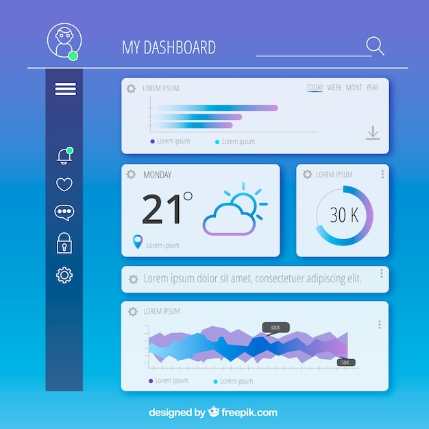 Admin dashboard template with flat design Vector | Free Download
